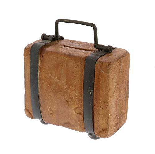 My Swanky Home Rustic Midcentury Terra Cotta Travel Bank Sculpture Vintage Style Brown Suitcase