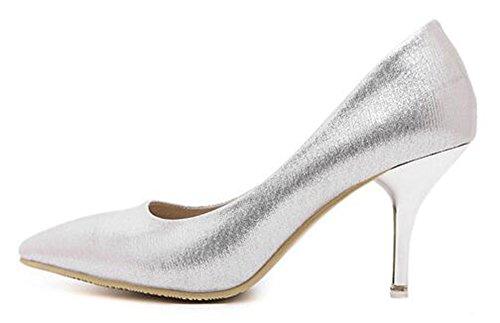 Chfso Da Donna Elegante Stiletto In Punta Di Piedi A Punta Bassa Slip On Kitten Tacco Scarpe Da Sposa Scarpe Argento