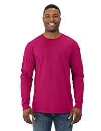 Fruit Of The Loom Mens Sofspun Long Sleeve T-Shirt, JZSFLR, 3XL, Cyber Pink