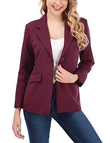 (FISOUL Womens Blazer Open Front Casual Work Office Blazer Jacket Suits with Pockets for Petite Wine Red S)