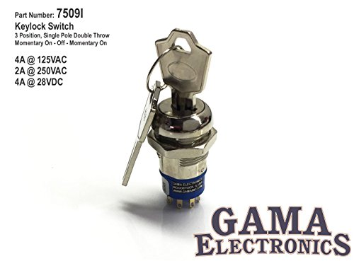 - GAMA Electronics 3 Position Single Pole Momentary On-Off-Momentary On Keylock Switch