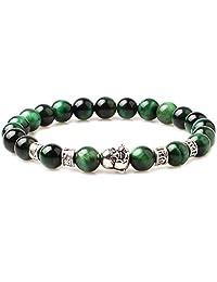 Weelovee Unisex Green Tiger Eye Bracelet,8mm Natural Stone Energy Beads Gift Gemstone Jewelry