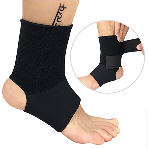 Adjustable Ankle Brace Compression Sleeve, 1Pc Breathable Ankle Support for Sprained Ankle. Stabilizer Foot Wrap, Prevent Re-Injury, Best for Men Women Sport to Reduce Swelling (Black, L)