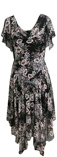 ROBBIE BEE Women's Puff Chiffon Floral Printed Maxi Dress, Balck Mauve, -