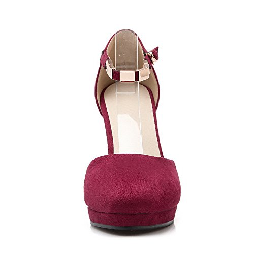 Allhqfashion Dames Spikes Stilettos Frosted Solid Gesp Ronde Gesloten Teen Pumps Schoenen Rood