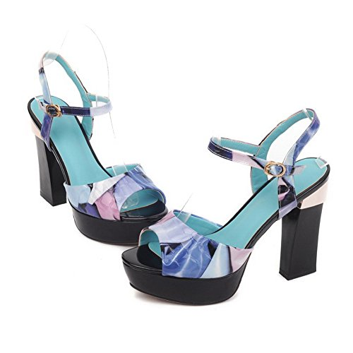 Allhqfashion Para Mujer Open Peep Toe Cow Leather Assorted Colors Sandals Con Stone Pattern Blue