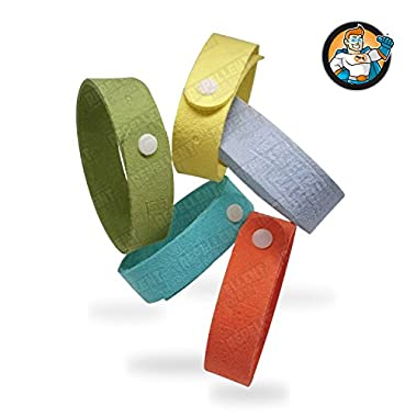 REPELLENT MAN - Mosquito Repellent Bracelet WristBand - Enhanced with Slow Release Technology - 5 Extra Soft Lightweight Bands for Adults and Kids in resealable bag - 100% Natural