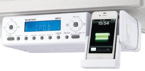 silvercrest under cabinet kitchen fm radio with ipod connection remote aux connection amazoncouk kitchen home - Kitchen Radio