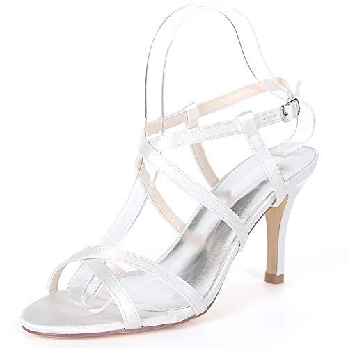 L@YC Zapatos De Boda De Las Mujeres del Gatito del Verano /8.5cm Talones Peep Toe Hebilla Plataforma De Encaje Chunky / FY992 White