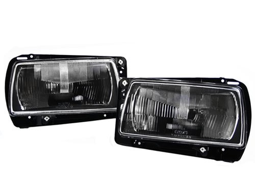 1985-1992 VW JETTA MK2 ECODE BLACK AERO GLASS HEADLIGHTS + WIRING - Black Headlights Depo Euro