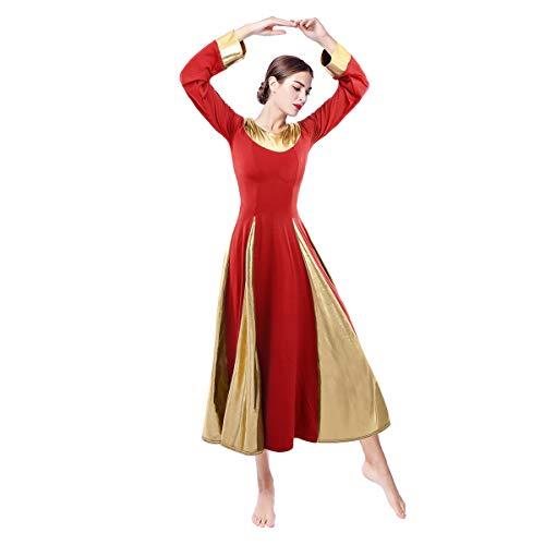Women Liturgical Praise Robe Dance Praisewear Metallic Color Block Bell Long Sleeve Lyrical Worship Church Dancewear Costume Loose Fit Full Length Swing Dress Celebration of Spirit Red XX-Large ()