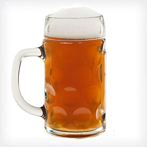 Lily's Home 1 Liter Dimpled Glass Beer Stein (1) (1 Glass Beer Of)