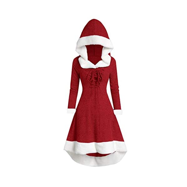 Christmas Long Sleeve Patchwork Hooded Party Dress