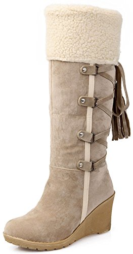 Mid Women's Easemax On Pull Suede Beige Wedge Casual Round Calf Toe Boots Mid Heel Faux fqrYxgqw