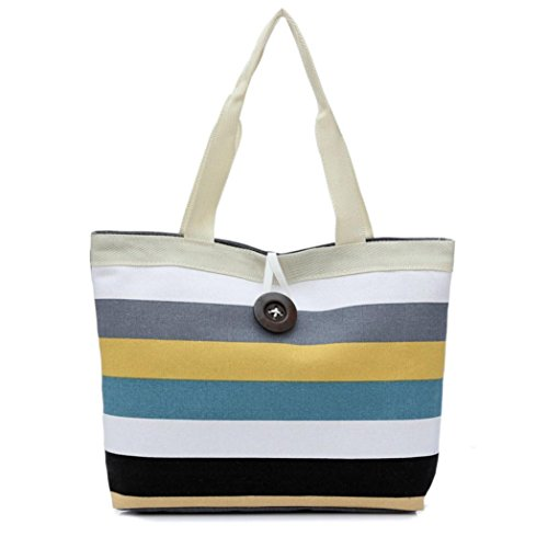 YJYDADA Bag,Lady Colored stripes Shopping Handbag Shoulder Canvas Bag Tote Purse (A) from YJYDADA