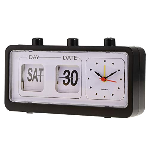 B Blesiya Vintage Retro Quartz Alarm Clock Flip Calendar Display Clock for Home Improvement - ()
