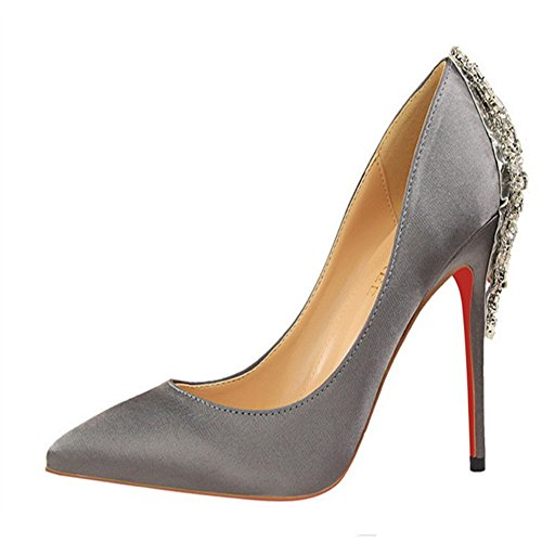 Manyis Femmes New Talons Hauts Stilettos Satin Upper Bling Crystal Shoes Chaussures Bout Pointu Gris Argent 3