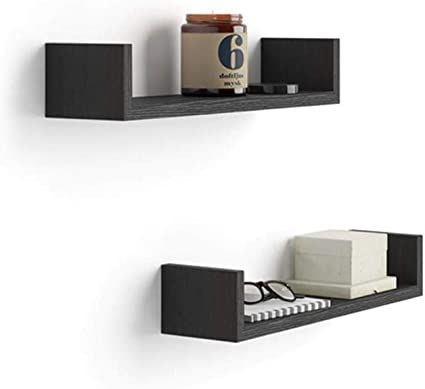 Mobili Fiver, Par de estantes en U, Modelo Iacopo, de MDF, Color Negro Ceniza, 50 x 12 x 9 cm