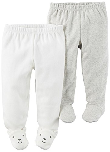 Carter's Baby Boys' 2-Pack Pants (Light Grey/Ivory, 9 Months)