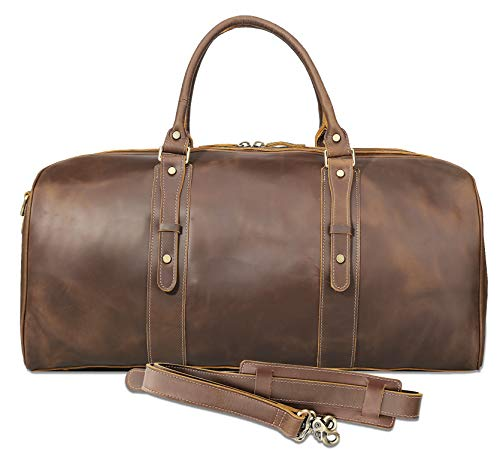 Texbo Men's Full Grain Cowhide Leather Large Overnight Travel Duffle Bag Luggage 23″ For Sale
