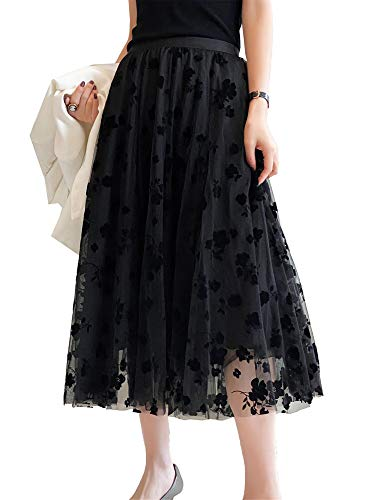 AvoDovA Women Girl Tutu Tulle Skirt Elastic High Waist 3-Layered Skirt Floral Mesh A-Line Midi Skirt