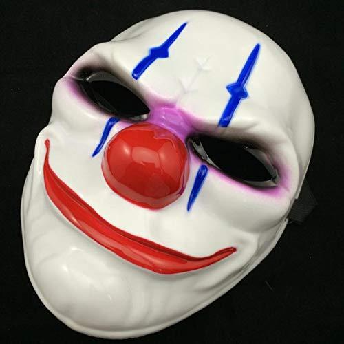 Party Masks - 2016 Pvc Scary Clown Mask Payday 2 Halloween Mascara - Wear Superhero Stick Masquerade Adults Bulk White Male Party Pack Glasses Sticks Lace Headbands Adult Women Gold -