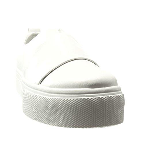 Angkorly - Scarpe da Moda Sneaker low donna tanga finitura cuciture impunture Tacco tacco piatto 3.5 CM - Bianco