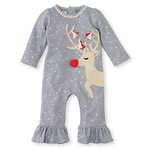 Mud Pie Baby Girl's Christmas Reindeer Ruffle One-Piece Playwear (Infant) Gray 3-6 Months
