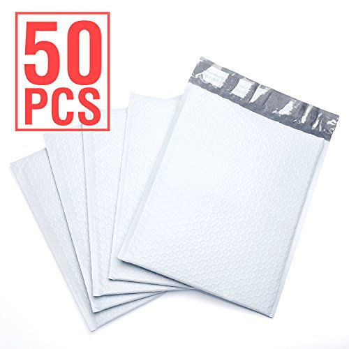 FU GLOBAL Poly Bubble Mailer Padded Envelopes, 6 x 10-Inches, White, 50-Pack (White Padded Envelopes)