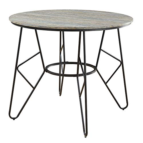 - Jurcek Round Gathering Height Dining Table in Gray Brindle with Round Tabletop And Metal Base, by Artum Hill