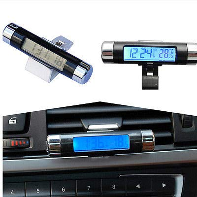 FidgetFidget Car Digital Display Clock Time Thermometer SUV Air Vent Clip Blue LED Backlight