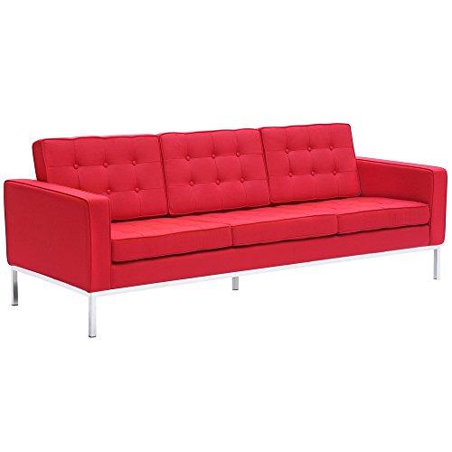Modern Contemporary Sofa, Red, Fabric