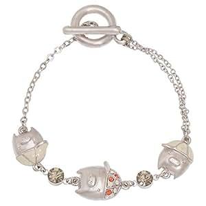 Venus Accessories Women's Rhodium Plated Stainless Steel Bracelet