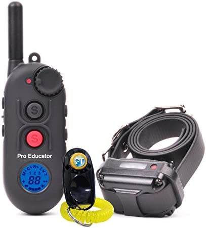 Bundle of 2 Items – E-Collar – PE-900-1 2 Mile Remote Rechargeable Waterproof Trainer Pro Educator – Static, Vibration and Sound Stimulation Collar with PetsTEK Dog Training Clicker