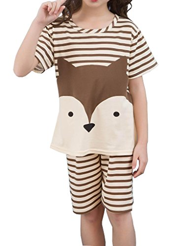 YUEXIN Little Girls' Cartoon Printed Pajama Sets Cute Fox Pattern Sleepwear Gown by YUEXIN