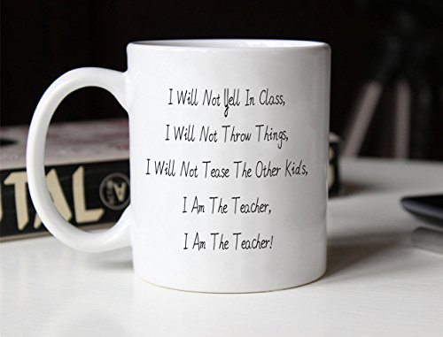 Funny Teacher Coffee Mug Father's Day and Mother's Day Gifts - I Am The Teacher! - Best Teacher Gifts Ceramic Cup White, 11 Oz by LaTazas