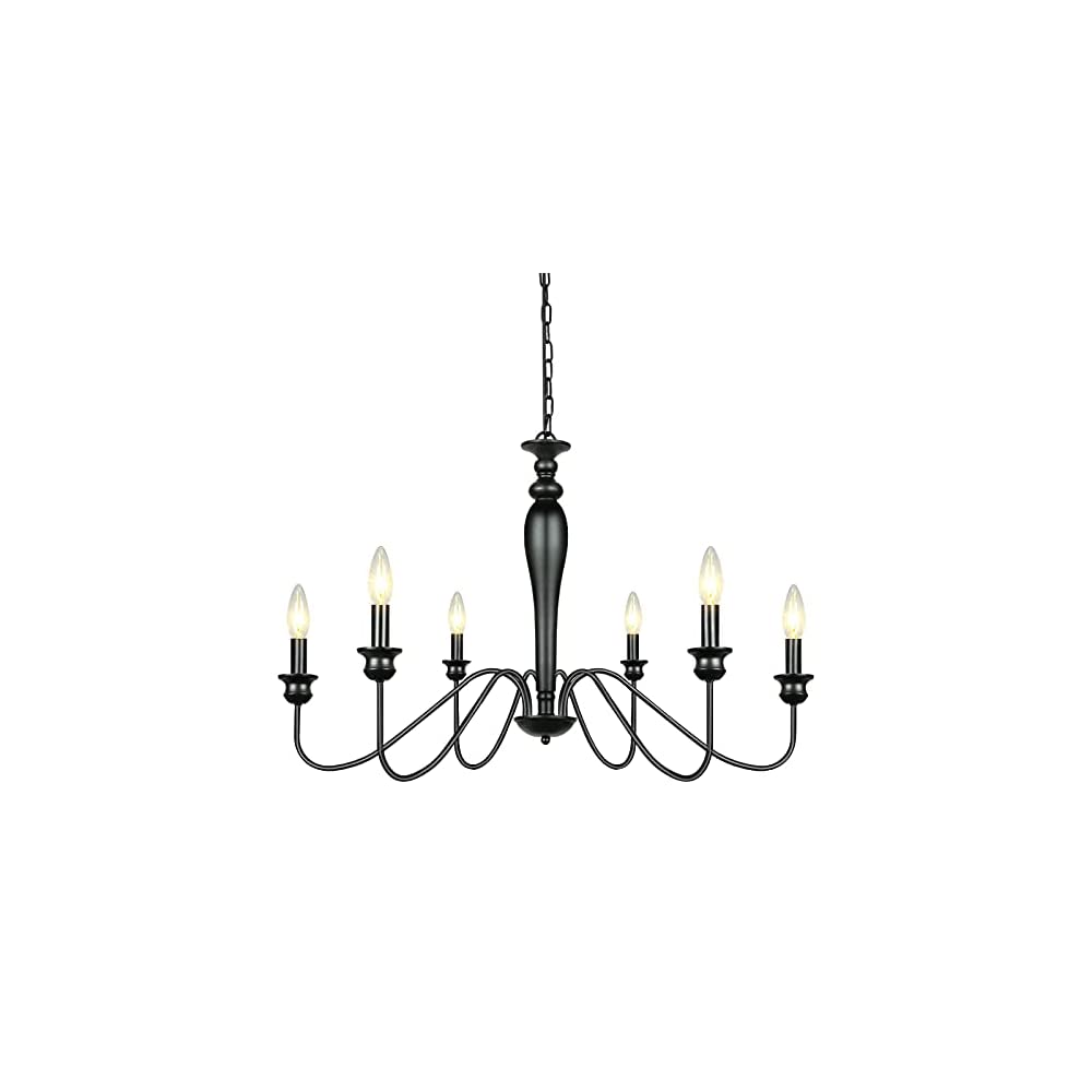 Oriland 6-Light Farmhouse Chandelier,Rustic Industrial Iron Chandelier Candle Ceiling Light Fixture for Dinning Room…