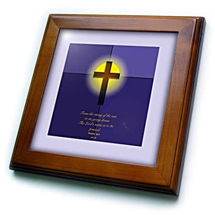 8 by 8-Inch 3dRose ft/_22345/_1 Psalm 113 3 Cross Sunrise Sunset Bible Verse in Blues and Yellows Framed Tile