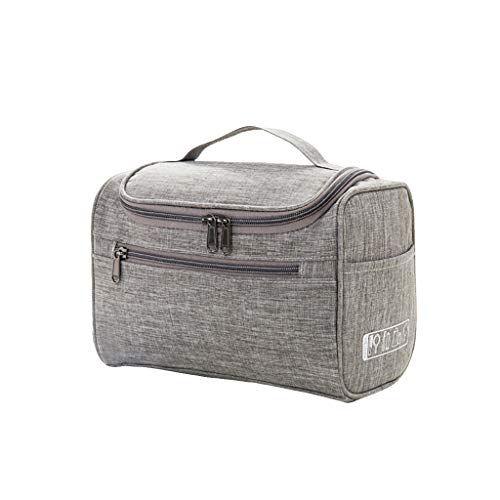 TANGON Travel Makeup Pouch Clutch Purse Hand-Held Printing Cosmetic Bag Portable Organizer Case with Zipper for Girl and Women (Gray)
