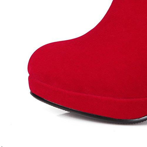 AllhqFashion Mujer Puntera Redonda Tacón Alto Sólido Gamuza(Imitado) Botas Rojo-Colgantes