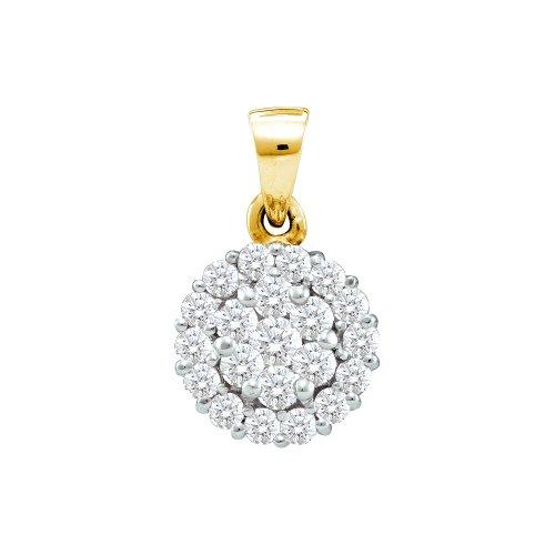 Diamond Flower Drop Necklace (14K Yellow Gold Large Dangle Drop Flower Invisible Channel Set Round Diamond Pendant - (1.00 cttw))
