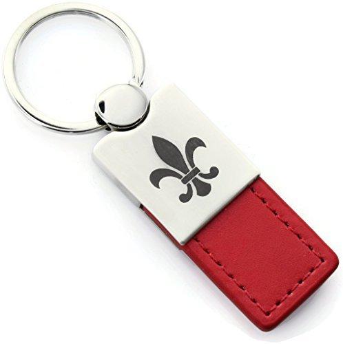Fleur-De-Lis Red Leather Chrome Car Fob Key Chain (Fleur Leather)