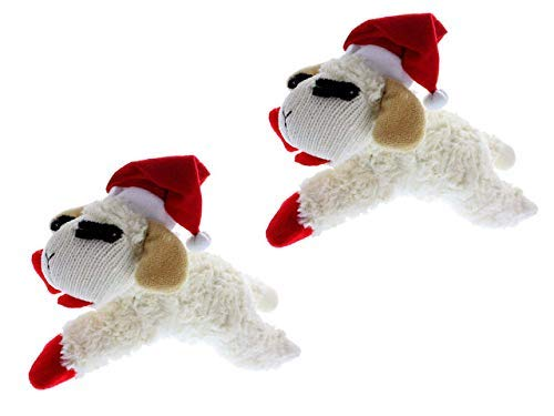Lamb Chop Christmas Dog Toy with Santa Hat 6 , 2 Pack
