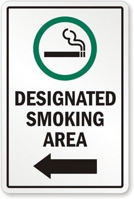 designated smoking area with left arrow and cigarette symbol sign