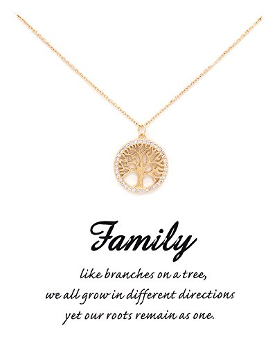 Shoopic Crystal Tree of Life Pendant Gold Plated Message Card Necklace for Women
