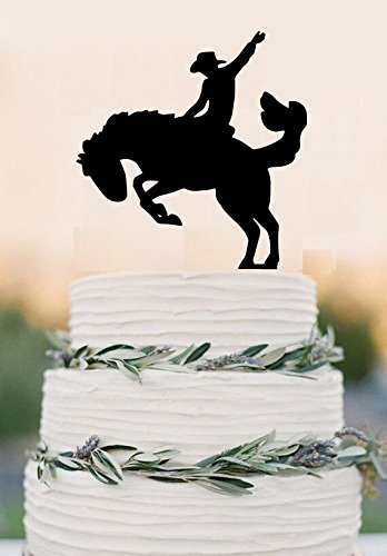 Cowboy On A Bucking Horse Cake Topper Country Wedding Cake Topper Western Wedding Rustic Cake Topper by hiusan (Image #1)