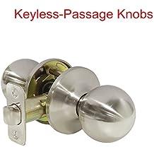 1 Pack Probrico Round Doorknobs Door Knob Lock Keyless Passage Door Lockset Handle Hall/Closet Satin Nickel Door Knob-5763
