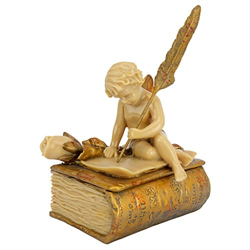 - Design Toscano The Love Letter Cherub Trinket Jewelry Box Statue, 6 Inch, Polyresin, Ivory and Gold Finish