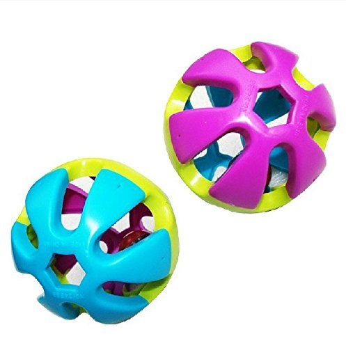 1Pcs Colorful Parrot Birds Toy Ball With Bell For Parakeet Budgie Cockatiel Pet Rabbit Cat Dog Toys ()