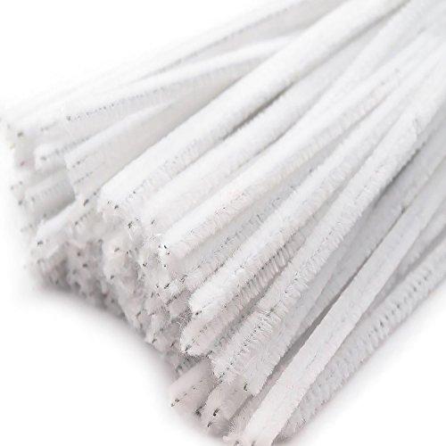 20 Draht, Pfeifenreiniger Ø 6 mm Länge 30cm CHENILLE, weiß